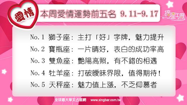 12星座本周愛情吉日吉時(9.11-9.17)